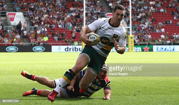 George North of Northampton breaks clear to score the first try during the Aviva Premiership match between Bristol and Northampton Saints at Ashton...