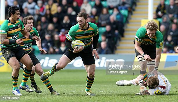 George North of Northampton breaks with the ball during the Aviva Premiership match between Northampton Saints and Harlequins at Franklin's Gardens...