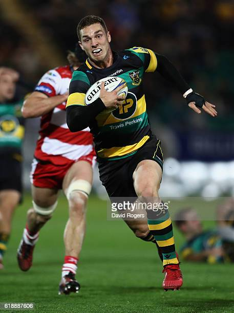 George North of Northampton breaks with the ball during the Aviva Premiership match between Northampton Saints and Gloucester Rugby at Franklin's...