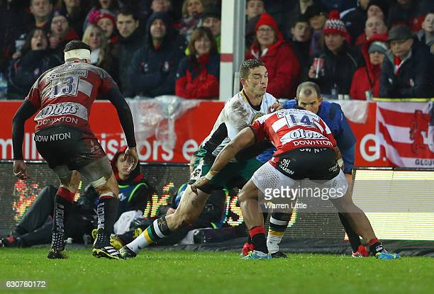 George North of Northampton Saints in action during the Aviva Premiership match between Gloucester Rugby and Northampton Saints at Kingsholm Stadium...