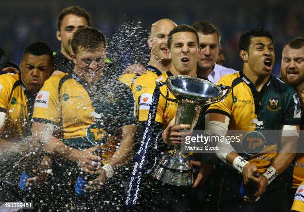 George North of Northampton Saints leads the victory celebrations after his sides 30-16 win during the Amlin Challenge Cup Final between Bath and...