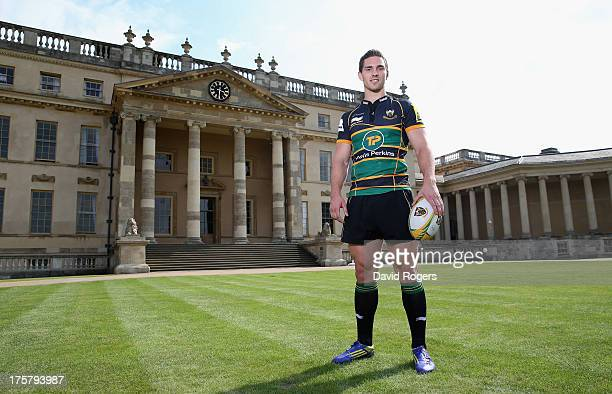 George North of Northampton Saints poses in front of Stowe School at the photocall held at Stowe School on August 8, 2013 in Stowe, England.
