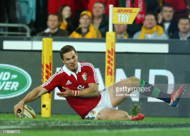 George North of the Lions scores a try during the International Test match between the Australian Wallabies and British Irish Lions at ANZ Stadium on...