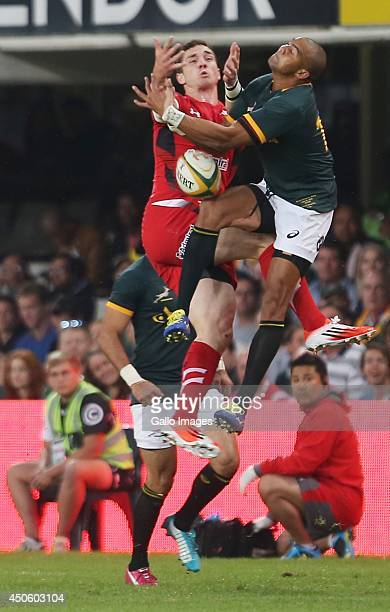 George North of Wales and Cornal Hendricks of South Africa jump for the ball during the Incoming Tour match between South Africa and Wales at...