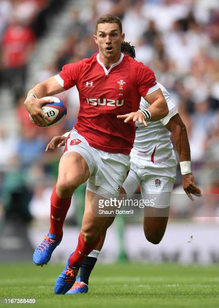 George North of Wales breaks with the ball during the 2019 Quilter International between England and Wales at Twickenham Stadium on August 11 2019 in...