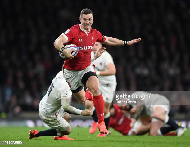George North of Wales breaks with the ball during the 2020 Guinness Six Nations match between England and Wales at Twickenham Stadium on March 07,...