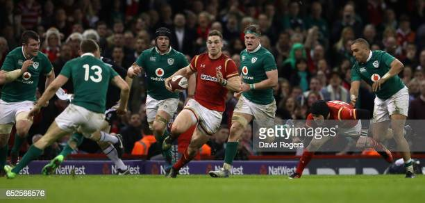George North of Wales breaks with the ball during the RBS Six Nations match between Wales v Ireland at the Principality Stadium on March 10 2017 in...