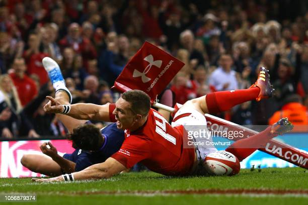 George North of Wales celebrates after scoring a try which was later disallowed during the International Friendly match between Wales and Scotland on...