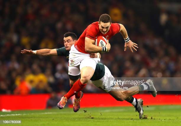 George North of Wales escapes a challenge during the International Friendly match between Wales and South Africa on November 24 2018 in Cardiff...
