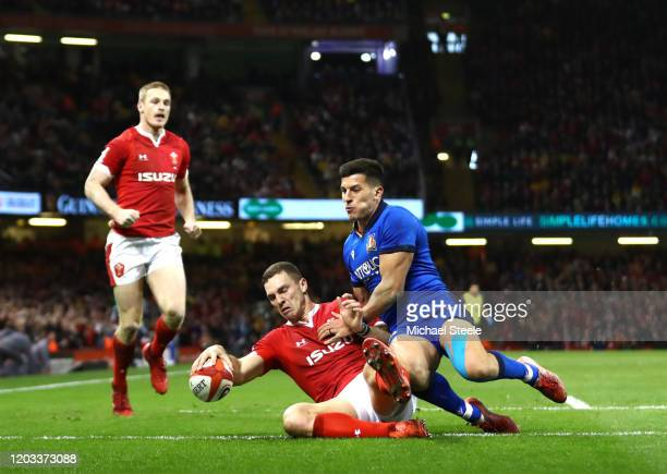 George North of Wales goes over to score his sides fourth try which is later disallowed by the TMO during the 2020 Guinness Six Nations match between...