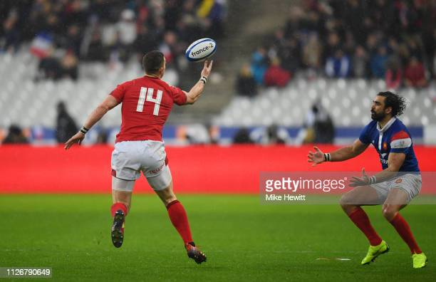 George North of Wales intercepts the ball to break away and score his team's fourth try during the Guinness Six Nations match between France and...