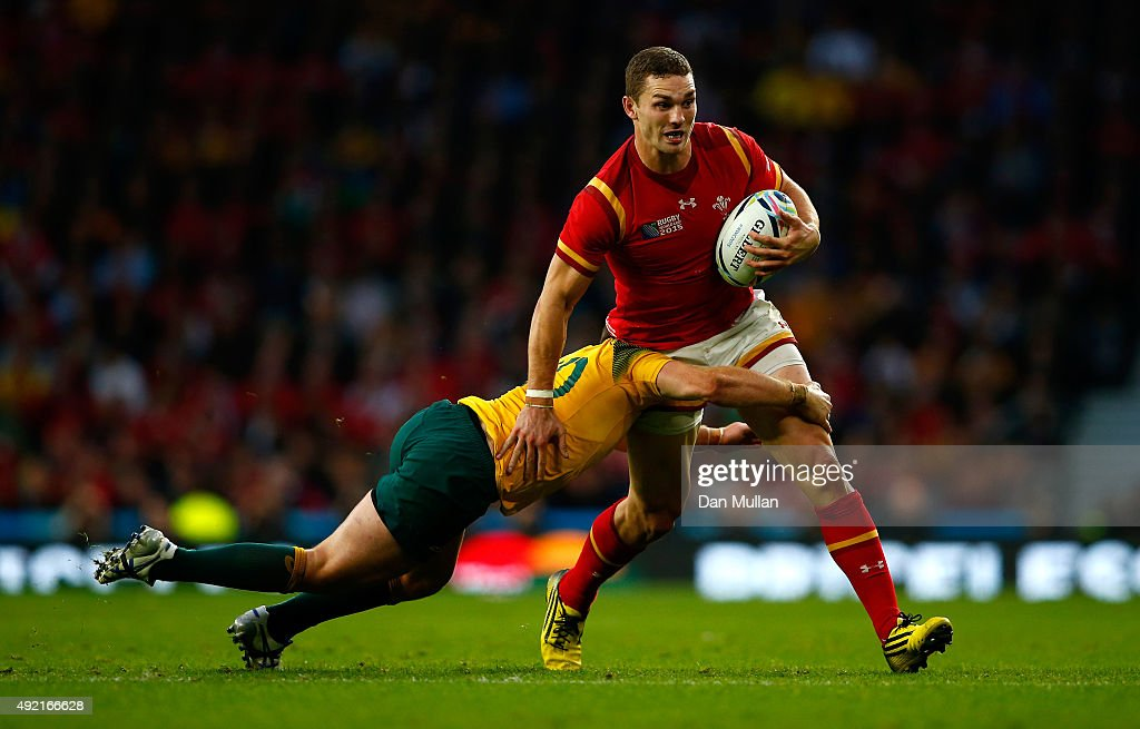 George North of Wales is tackled by Bernard Foley of Australia during the 2015 Rugby World Cup Pool A match between Australia and Wales at Twickenham Stadium on October 10, 2015 in London, United Kingdom.