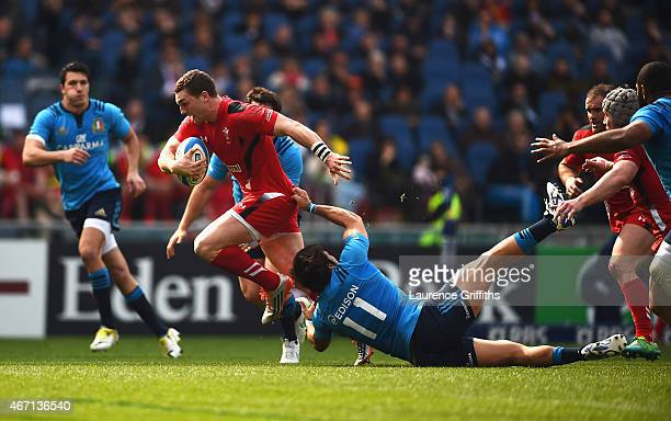 George North of Wales is tackled by Giovanbattista Venditti of Italy during the RBS 6 Nations match between Italy and Wales at Stadio Olimpico on...