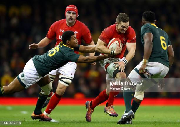 George North of Wales is tackled during the International Friendly match between Wales and South Africa on November 24 2018 in Cardiff United Kingdom