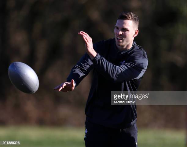 George North of Wales passes the ball during a training session at Vale of Glamorgan on February 20 2018 in Cardiff Wales