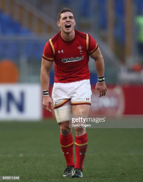 George North of Wales reacts to thigh injury during the RBS Six Nations match between Italy and Wales at the Stadio Olimpico on February 5 2017 in...