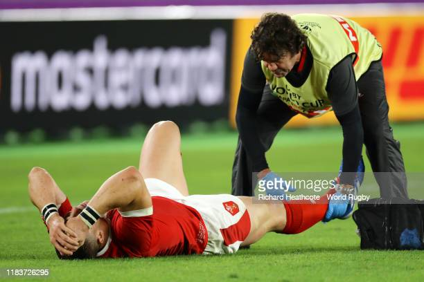 George North of Wales receives medical treatment during the Rugby World Cup 2019 SemiFinal match between Wales and South Africa at International...