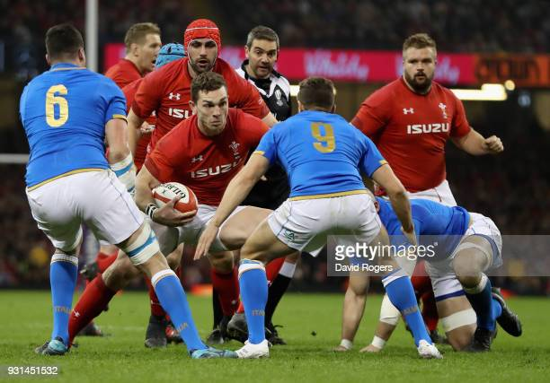 George North of Wales runs with the ball during the NatWest Six Nations match between Wales and Italy at the Principality Stadium on March 11 2018 in...
