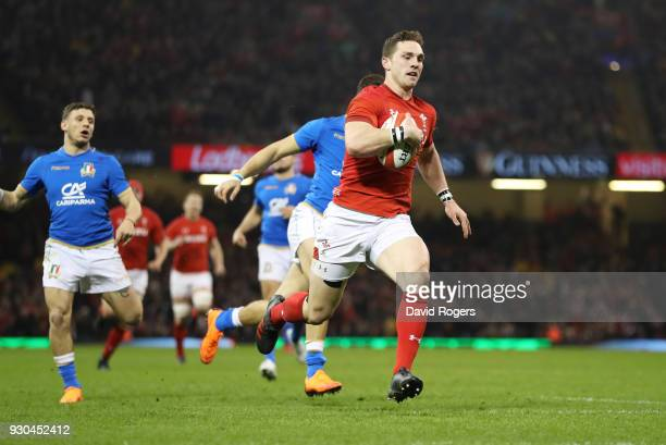 George North of Wales rus through to score their second try during the NatWest Six Nations match between Wales and Italy at Principality Stadium on...