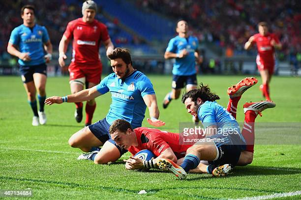 George North of Wales scores his second try during the RBS 6 Nations match between Italy and Wales at Stadio Olimpico on March 21 2015 in Rome Italy