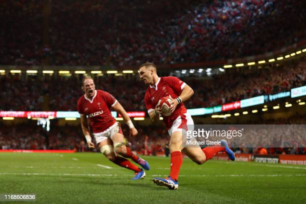 George North of Wales scores the opening try as captain Alun Wyn Jones looks on during the Under Armour Summer Series 2019 match between Wales and...