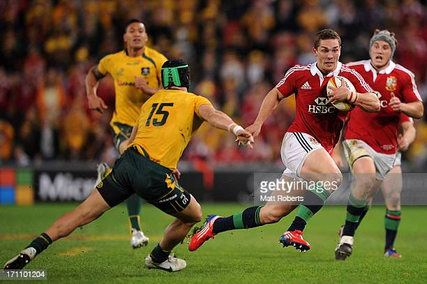 George North on his way to opening score for the Lions during the First Test match between the Australian Wallabies and the British Irish Lions at...