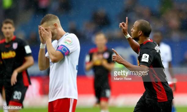 George of Regensburg celebrates after he scores the 5th goal during the Second Bundesliga match between Hamburger SV and SSV Jahn Regensburg at...