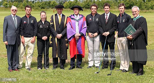 George O'Grady Chief Executive of The European Tour with golf scholars of the National University of Ireland Maynooth after the University conferred...