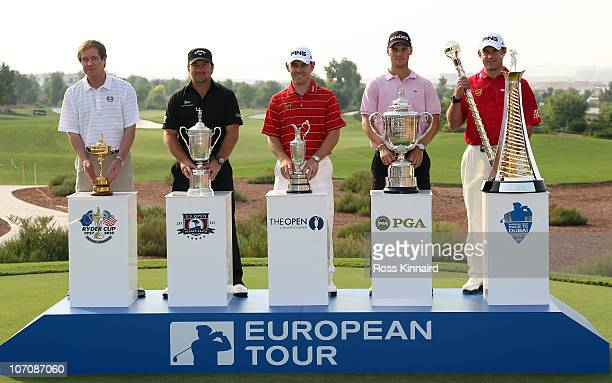 George O'Grady, Chief Executive The European Tour, Graeme McDowell of Northern Ireland,Louis Oosthuizen of South Africa, Martin Kaymer of Germany and...