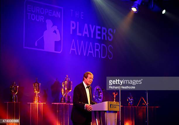 George O'Grady the Chief Executive of the European Tour speaks to the audience during the European Tour Players' Awards ahead of the BMW PGA...