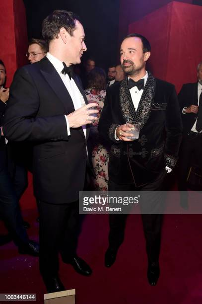 George Osborne and Evgeny Lebedev attend The 64th Evening Standard Theatre Awards after party at the Theatre Royal Drury Lane on November 18 2018 in...