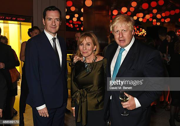 George Osborne Chancellor of the Exchequer Editor of the London Evening Standard Sarah Sands and Mayor of London Boris Johnson attend as the London...