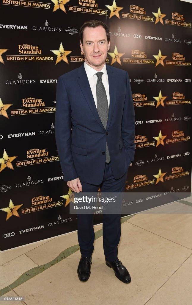 George Osborne, editor of the London Evening Standard, arrives at the London Evening Standard British Film Awards 2018 at Claridge's Hotel on February 8, 2018 in London, England.