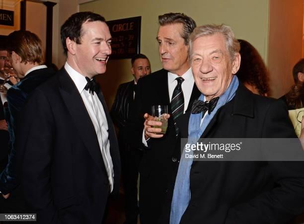 George Osborne Rupert Everett and Sir Ian McKellen attend The 64th Evening Standard Theatre Awards at the Theatre Royal Drury Lane on November 18...