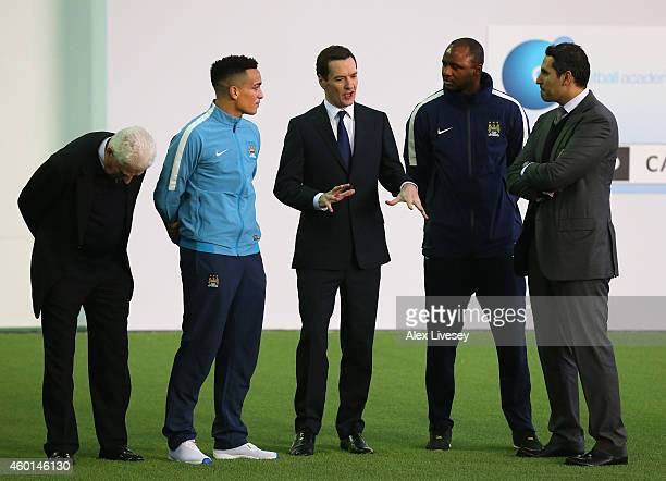 George Osborne the Chancellor of the Exchequer talks with Kean Bryan Patrick Vieira the Manager of the Manchester City Elite Development Squad Tony...