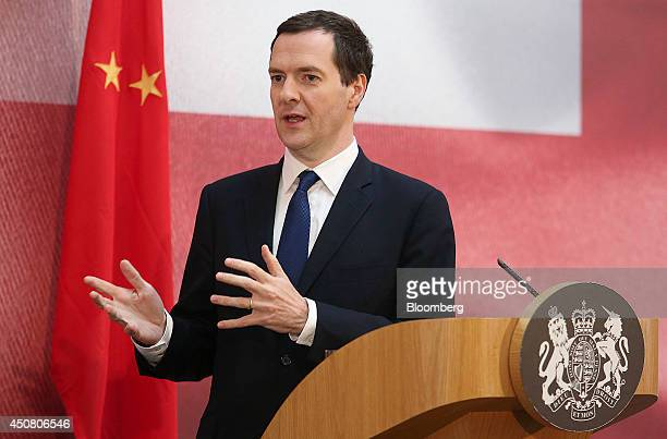 George Osborne UK chancellor of the exchequer gestures during the UK China Financial Forum at Lancaster House in London UK on Wednesday June 18 2014...