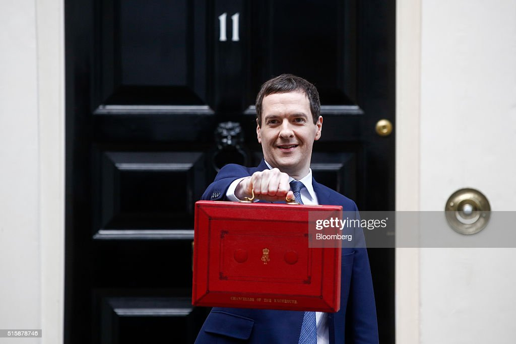 George Osborne, U.K. chancellor of the exchequer, holds the dispatch box containing the budget, as he exits 11 Downing Street in London, U.K., on Wednesday, March 16, 2016. Osborne is set to unveil sweeping education reforms in his Budget on Wednesday as he seeks to sweeten the pill of austerity three months before the referendum on European Union membership. Photographer: Simon Dawson/Bloomberg via Getty Images