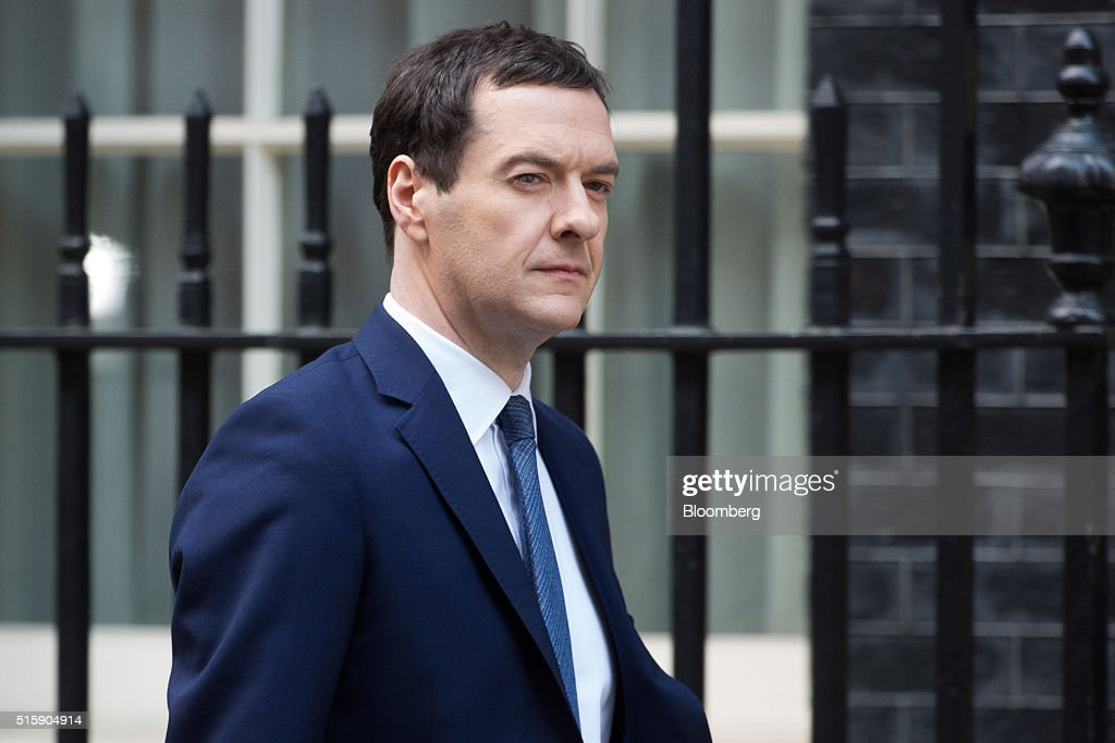 George Osborne, U.K. chancellor of the exchequer, leaves 11 Downing Street as he prepares to deliver his budget to the House of Commons in London, U.K., on Wednesday, March 16, 2016. Osborne is set to unveil sweeping education reforms in his Budget on Wednesday as he seeks to sweeten the pill of austerity three months before the referendum on European Union membership. Photographer: Jason Alden/Bloomberg via Getty Images