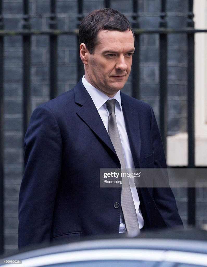 George Osborne, U.K. chancellor of the exchequer, leaves 11 Downing Street in London, U.K., on Wednesday, March 18, 2015. U.K. unemployment fell to its lowest level in more than six years and real pay growth accelerated in a boost for Osborne as he prepares to announce his final budget before the election. Photographer: Jason Alden/Bloomberg via Getty Images