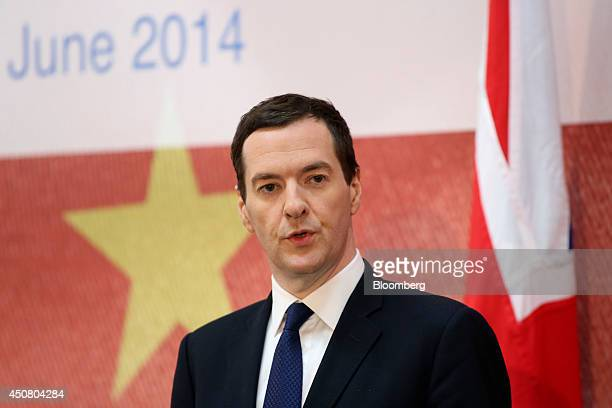 George Osborne UK chancellor of the exchequer speaks during the UK China Financial Forum at Lancaster House in London UK on Wednesday June 18 2014...
