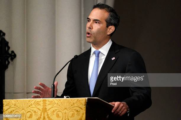 George P Bush gives a eulogy during the funeral for former President George HW Bush at St Martin's Episcopal Church on December 6 2018 in Houston...