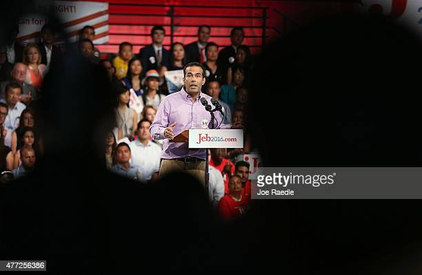 George P Bush introduces his father former Florida Governor Jeb Bush as he announces his plan to seek the Republican presidential nomination during...