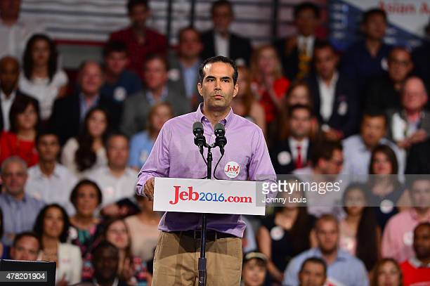 George P Bush introduces his father former Florida Governor Jeb Bush as he announces his plan to seek the 2016 Republican presidential nomination at...