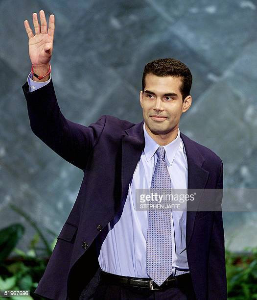 George P Bush nephew of Republican presidential candidate George W Bush waves to the delegates before his speech at the 2000 Republican National...