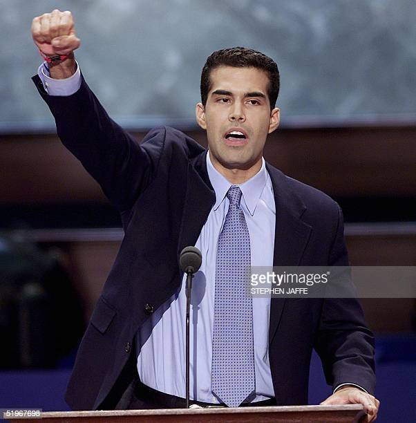George P Bush nephew of Republican Presidential nominee George W Bush delivers a speech at the 2000 Republican National Convention at the First Union...