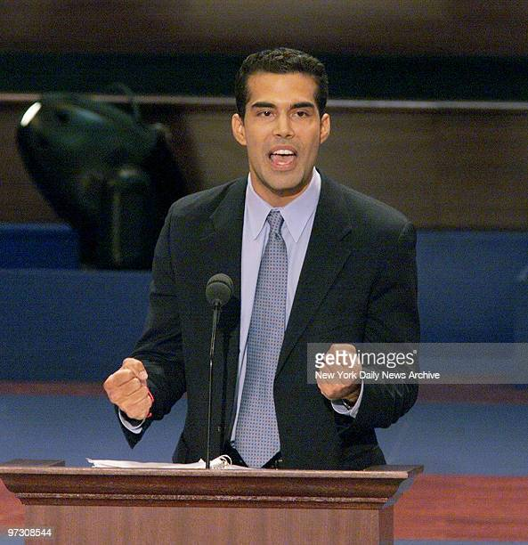 George P Bush nephew of Texas Gov George W Bush addresses the delegates during the final night of the Republican National Convention at First Union...