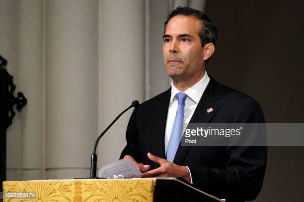 George P Bush pauses as he gives a eulogy during the funeral for former President George HW Bush at St Martin's Episcopal Church on December 6 2018...