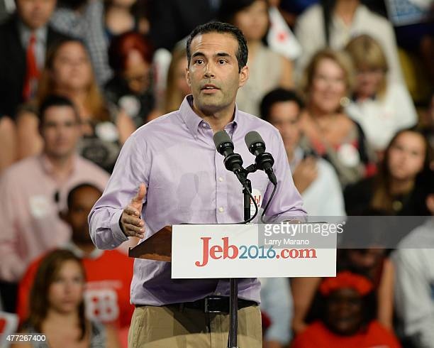 George P Bush speaks to supporters before his father Former Florida Governor Jeb Bush announces his candidacy for the 2016 Republican Presidential...
