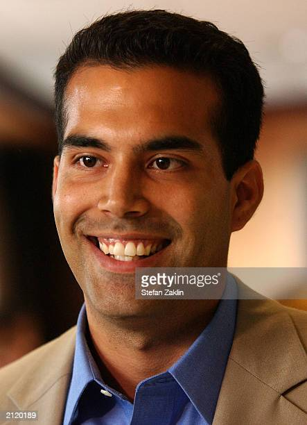 George P Bush the nephew of US President George W Bush speaks June 27 2003 in Washington DC Bush spoke at a fundraiser hosted by The Committe for...