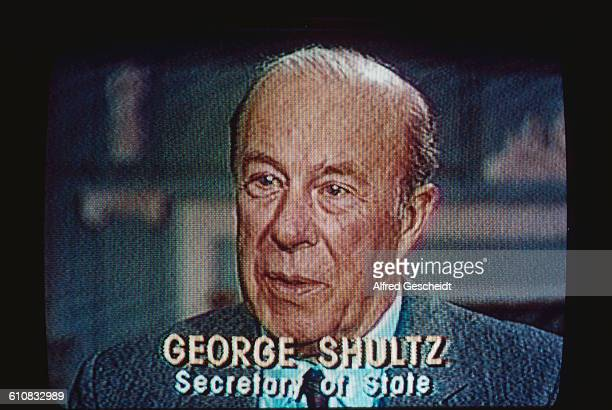 George P Shultz the US Secretary of State speaking on television December 1987